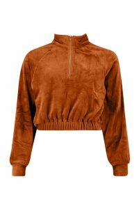 Womens Premium Velour Cropped Zip jumper - brown - M, Brown