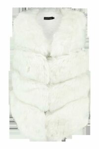 Womens Panelled Faux Fur Gilet - white - Xs/s, White
