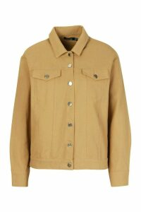 Womens Oversized Utility Jacket - brown - 14, Brown