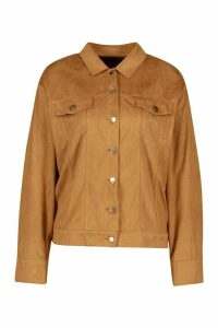 Womens Oversized Suedette Utility Jacket - Brown - 12, Brown