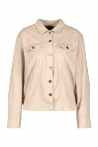 Womens Oversized Suedette Utility Jacket - Pink - 10, Pink