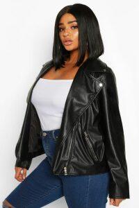 Womens Plus Faux Leather Zip Biker Jacket - black - 18, Black
