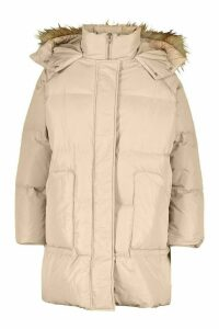 Womens Plus Faux Fur Longline Puffer Coat - Brown - 22, Brown
