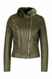Womens Petite Faux Fur Lined Aviator Jacket - green - M, Green