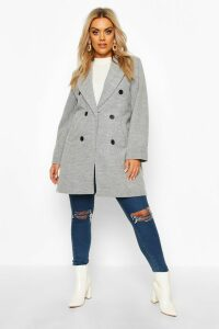 Womens Plus Double Breasted Coat - grey - 20, Grey