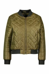 Womens Quilted Bomber Jacket - green - 10, Green