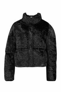 Womens Petite Velvet Padded Jacket - black - L, Black