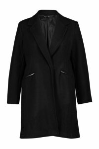 Womens Plus Zip Pocket Tailored Coat - black - 24, Black
