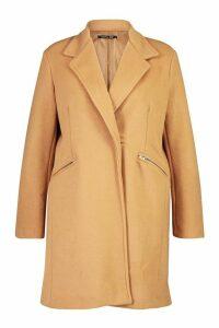 Womens Plus Zip Pocket Tailored Coat - beige - 24, Beige