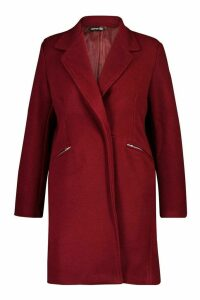 Womens Plus Zip Pocket Tailored Coat - 18, Red