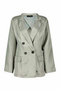 Womens Oversized Masculine Fit Blazer - Grey - 14, Grey