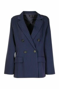 Womens Oversized Masculine Fit Blazer - navy - 14, Navy