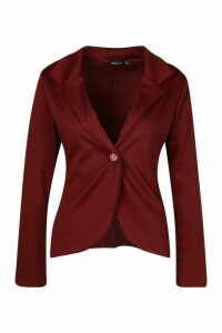 Womens Button Front Blazer - red - 12, Red