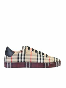 Burberry Check Pattern Cotton Sneakers