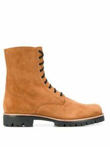 René Caovilla side zip lace-up boots - Brown