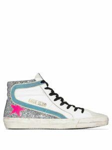 Golden Goose Slide glittered high-top sneakers - White