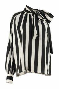 MSGM Striped Viscose-twill Blouse