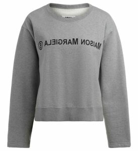 Mm6 Maison Margiela Gray Melange Sweatshirt With Front Logo
