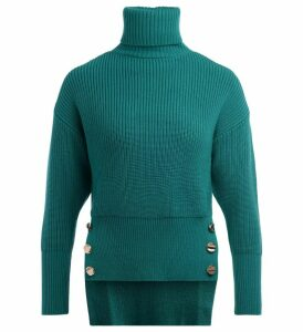 Elisabetta Franchi Turtleneck Sweater In Emerald Green Wool