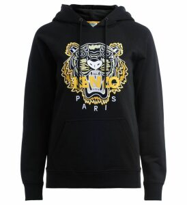 Kenzo Black Tiger Hooded Sweatshirt With Embroidered Tiger