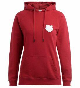 Kenzo Tigre Sweatshirt In Cherry Red Cotton With Hood
