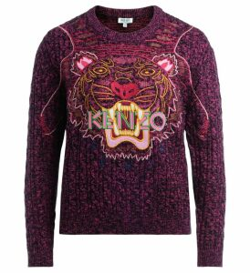 Kenzo Tigre Sweater In Black And Purple Wool With Multicolor Tiger