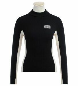 Elisabetta Franchi Turtleneck Sweater In Black Wool And Butter