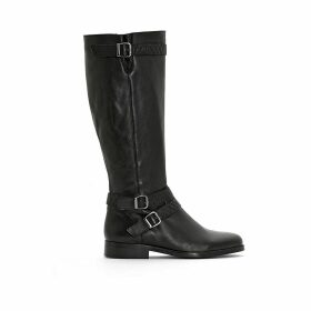Wide-Fitting Leather Biker Boots