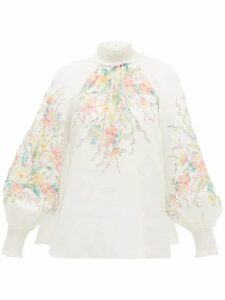Zimmermann - Zinnia Balloon-sleeve Floral-print Linen Top - Womens - Ivory Multi