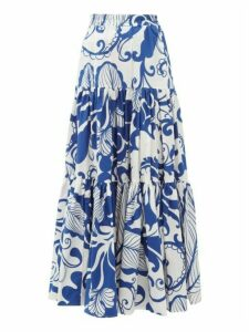 La DoubleJ - Floral-print Tiered Cotton-poplin Maxi Skirt - Womens - Blue Print