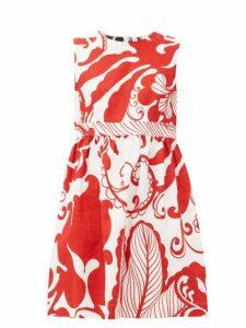 La Doublej - Jackie Floral Print Cotton Blend Mini Dress - Womens - White Print