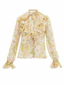 Zimmermann - Super Eight Ruffled Pussy-bow Silk Blouse - Womens - Pink Multi
