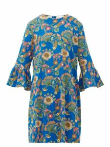 La DoubleJ - 24/7 Thistle-print Trumpet-sleeve Crepe Dress - Womens - Blue Print