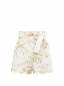 Zimmermann - Zinnia Scalloped Floral-print Linen Shorts - Womens - Cream Print