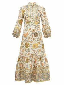 Zimmermann - Edie Balloon-sleeve Floral-print Linen Dress - Womens - Green Print