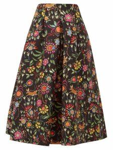 La DoubleJ - Santa Monica Babe-print Wool-blend A-line Skirt - Womens - Black Print