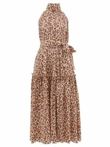 Zimmermann - Super Eight High Neck Leopard Print Midi Dress - Womens - Leopard
