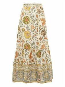 Zimmermann - Edie Floral-print Linen Maxi Skirt - Womens - Green Print