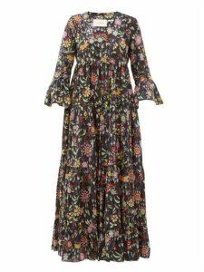 La DoubleJ - Jennifer Jane Floral-print Cotton Midi Dress - Womens - Black Print