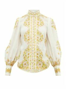 Zimmermann - Super Eight Floral-print Gauze Blouse - Womens - White Print