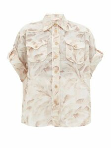 Zimmermann - Super Eight Leaf-print Ramie Shirt - Womens - Cream Print