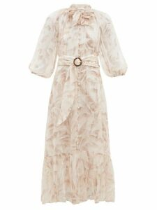 Zimmermann - Super Eight Palm Tree-print Belted Chiffon Dress - Womens - Cream Print