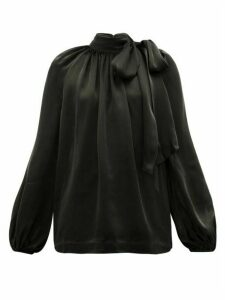 Zimmermann - Super Eight Pussy-bow Silk-charmeuse Blouse - Womens - Black
