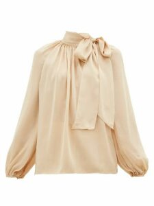 Zimmermann - Super Eight Pussy-bow Silk-charmeuse Blouse - Womens - Beige