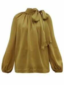 Zimmermann - Super Eight Pussy Bow Silk Charmeuse Blouse - Womens - Khaki