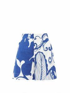 La Doublej - Abstract Print Cotton Blend Shorts - Womens - Blue White