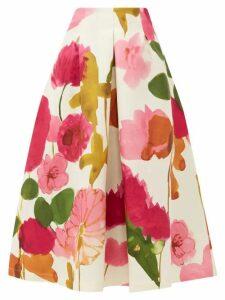 La DoubleJ - Macaron Floral-print Wool-blend Skirt - Womens - White Print
