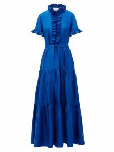 La Doublej - Long And Sassy High Neck Ruffled Silk Dress - Womens - Blue