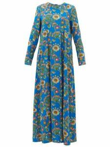 La DoubleJ - Trapezio Thistle-print Crepe Dress - Womens - Blue Print