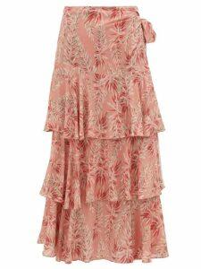Adriana Degreas - Aloe Print High Rise Tiered Poplin Wrap Skirt - Womens - Pink Print